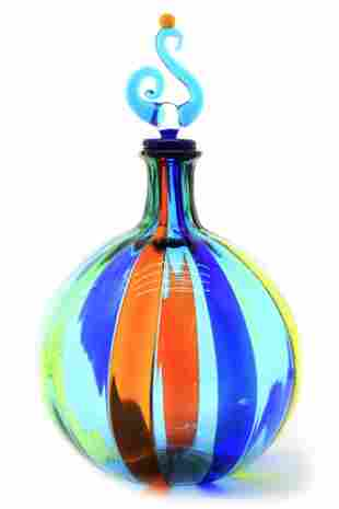 Murano glass bottle with canne signed