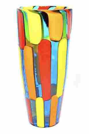 Murano glass vase pezzato signed