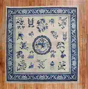 Square Chinese Slate Blue Antique Rug