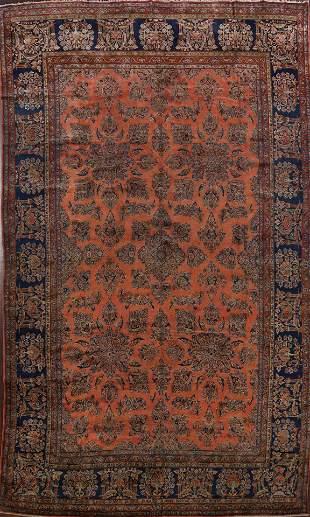 Pre-1900 Antique Vegetable Dye Kashan Persian Rug 10x11