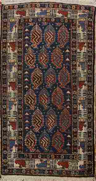 100% Vegetable Dye Antique Kazak Oriental Area Rug 2x4
