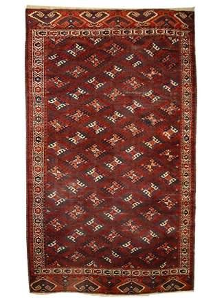 Hand made vintage Turkoman rug 1.9' x 2.6' ( 58cm x