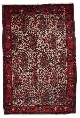 Handmade vintage Persian Malayer rug 4.2' x 6.4' (