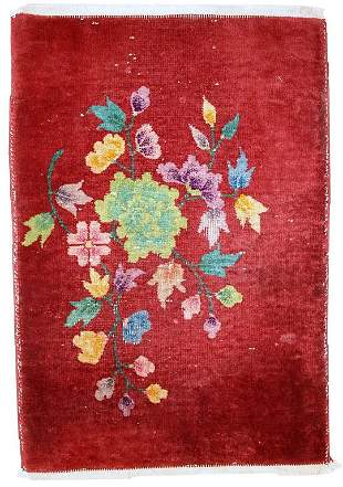 Handmade antique art deco Chinese rug 2' x 2,9' ( 61cm