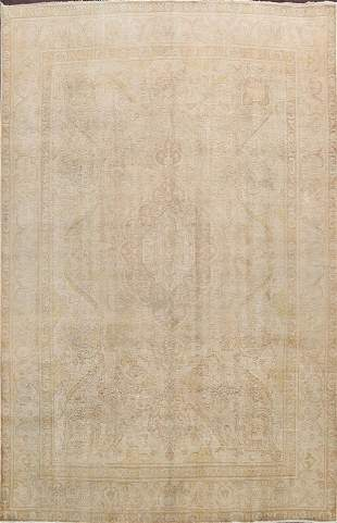 Antique Muted Floral Tabriz Persian Area Rug 9x12