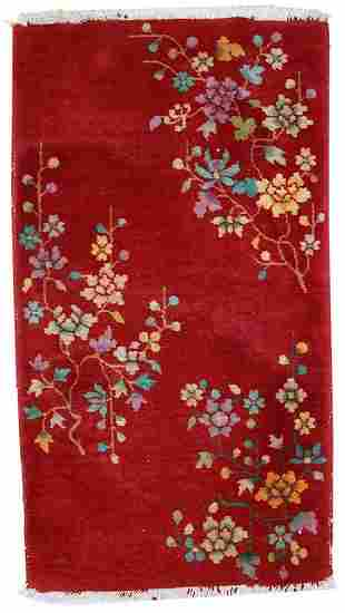 Handmade antique art deco Chinese rug 2' x 3,6' ( 62cm