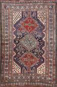 Pre-1900 Antique Geometric Qashqai Persian Area Rug 4x6