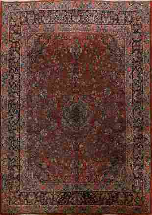 Antique 100% Vegetable Dye Kazvin Persian Area Rug 9x12