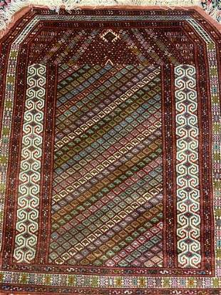Semi Antique Hand Woven Persian Turkman 3.5x4.3 ft