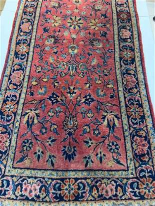Semi Antique Hand Woven Persian Sarouk 2.5x5.3 ft