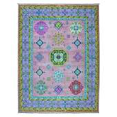 Colorful Pink Fusion Kazak Pure Wool Geometric Design