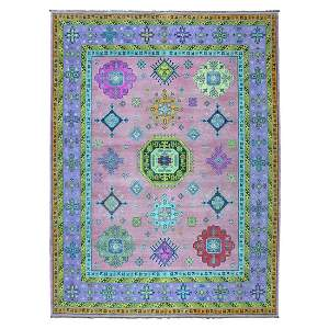 Colorful Pink Fusion Kazak Pure Wool Geometric Design