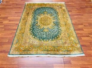 Vintage Persian Pure Silk Qum Rug-4700