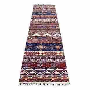 Khorjin Design Runner Blue Super Kazak Tribal Pure Wool
