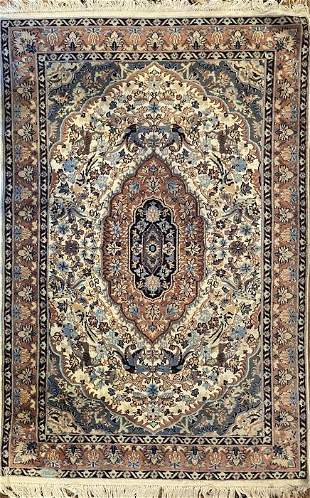 "Vintage Pakistan Rug, Silk and Lamb Wool, 6'2"" x 4'2"","