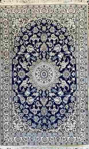 Antique Persian Nain, Signed Habibian Rug, lamb wool