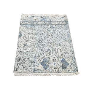 Distressed Oushak Pure Silk With Textured Wool Hand
