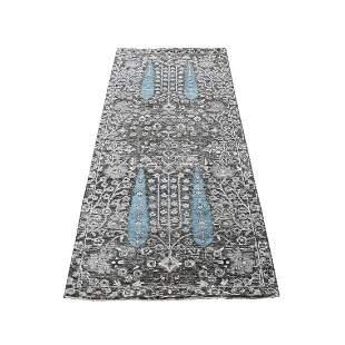 Cypress Tree Design Silk With Textured Wool Hand