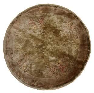 Handmade vintage silk Art Deco style Chinese round rug