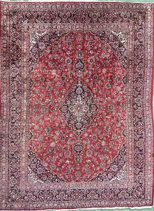 "Persian Kashan Rug- 9' 6"" x 12'9"" , Wool."
