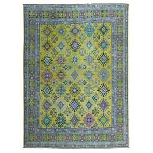 Colorful Yellow Fusion Kazak Pure Wool Geometric Design