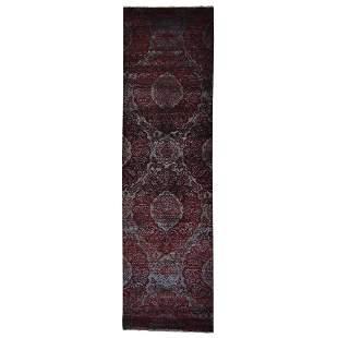 Damask Runner Wool and Silk Tone on Tone Handmade