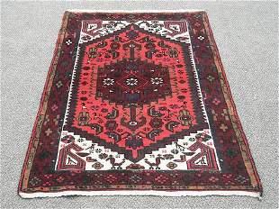 Nicely Contrasted Handmade Persian Hamadan