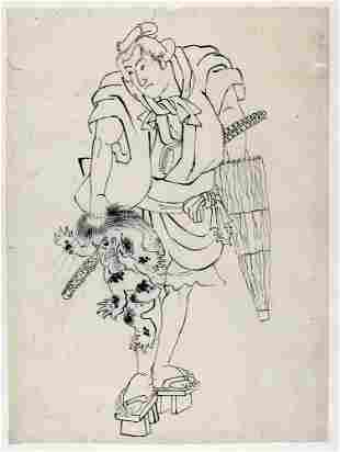 UTAGAWA school (attr. to): A samurai holding a 'tengu'