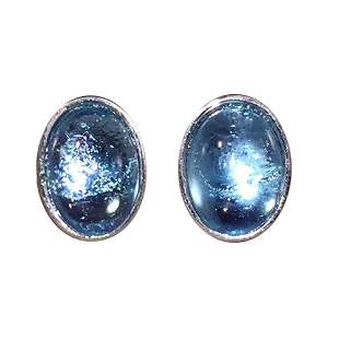 Christian Dior Oval Light Blue Jelly Belly Silver Tone
