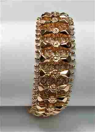 18 K yellow Gold Custom Link Wide Bracelet