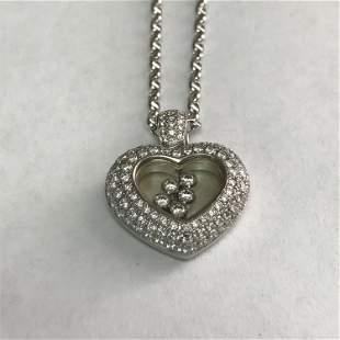18 k White Gold 2.00 Carat Floating Diamond Heart