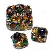Autumn Multicolor Brooch and Earring Set