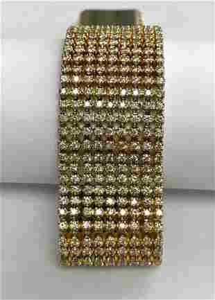 14 K Yellow Gold 18.04 CTW 9 Row Diamond Fashion