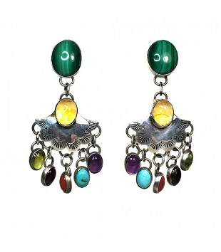 Signed Sterling Earrings with Multi-Stones