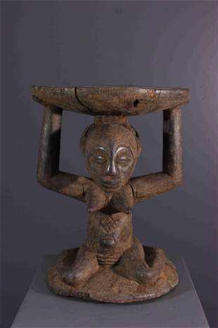 Luba wood caryatid stool - DRC Congo - African Art