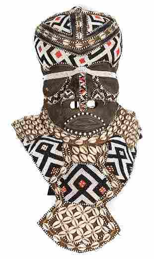Royal Mask – Beads, Cowry, Wood – BWOOM – KUBA – DR