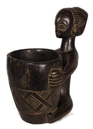 Bowl-barrier Figure – Wood – Mboko – Luba – Congo DRC