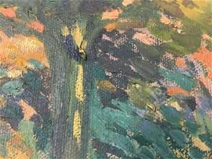 Antique 30s Edna R. Cook Autumn Trees Landscape Oil