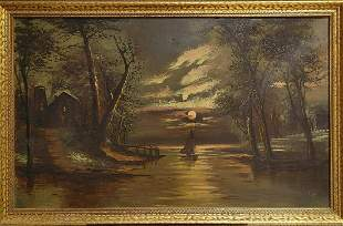 ANTIQUE AMERICAN SCHOOL LANDSCAPE OIL ON CANVAS WITH