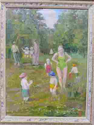 RUSSIAN SCHOOL SOCIAL REALISM OIL ON CANVAS SIGNED