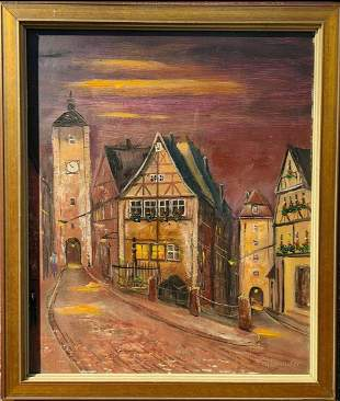 EUROPEAN SCHOOL OIL ON CANVAS PAINTING THE CITY SCAPE
