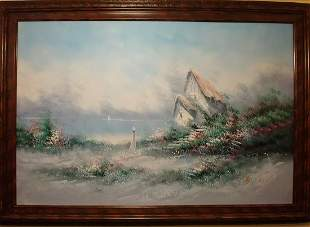 AMERICAN SCHOOL LANDSCAPE OIL ON CANVAS SIGNED WITH