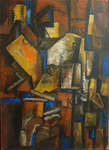 """""""Cubistic composition"""" oil painting on canvas"""