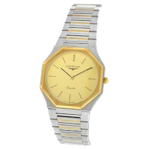 AS IS Unisex Longines Octagon Steel Yellow Gold Wave
