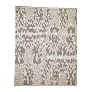 Hand Woven Flat Weave Soumak Pure Wool Ikat Design