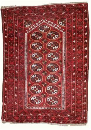 Handmade antique prayer Afghan Adraskand rug 2,7' x