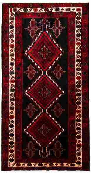 "Hand-knotted Hamadan Wool Rug 5'2"" x 10'1"""