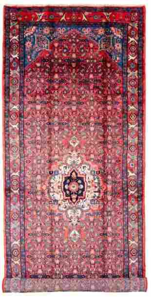 "Hand-knotted Hamadan Wool Rug 4'6"" x 11'10"""