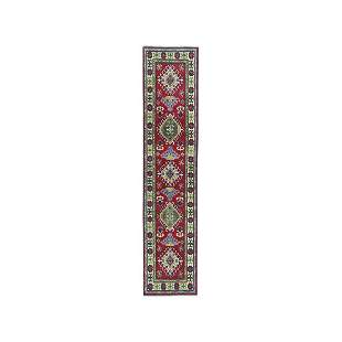 Red Geometric Design Kazak Pure Wool Hand-Knotted