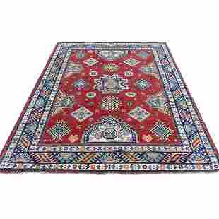 Hand-Knotted Red Special Kazak Geometric Design